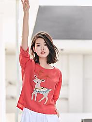 Damen Druck Einfach Normal T-shirt,Rundhalsausschnitt Sommer ½ Länge Ärmel Leinen