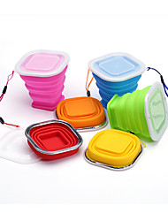 Square Silicone Stretch Folding Cup Children Drinking Cup Outdoor Travel Convenience Cake Cup Drink Cup