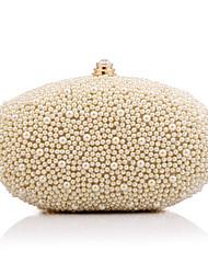 Women Evening Bag Polyester All Seasons Event/Party Wedding Minaudiere Imitation Pearl Crystal/ Rhinestone Clasp Lock Apricot White Handbag Clutch