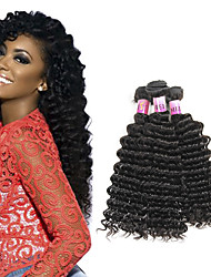 Remy Virgin Hair Deep Wave 3 Bundles 100% Human Hair Bundles Brazilian Deep Wave Deep Wave Brazilian Hair Bundles 300g/Set