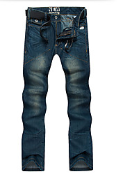 Men's Mid Rise Inelastic Jeans Pants,Simple Slim Denim Solid