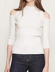 Tee-shirt Femme,Couleur Pleine Décontracté / Quotidien simple Manches Longues Epaules Dénudées Coton Fin
