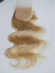 Блондинка 613 кружево закрытие тело волна бразильские виргинские remy человеческие волосы кружево закрытие отбеленные узлы 3.5x4