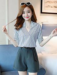 Для женщин Лето Рубашка Брюки Костюмы V-образный вырез С короткими рукавами