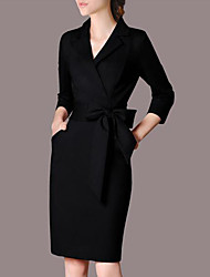 Women's Business Shift Dress,Solid Round Neck Midi 3/4 Length Sleeve Cotton Spring Mid Rise Micro-elastic Medium