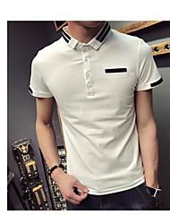 Tee-shirt Homme,Couleur Pleine Rayure Bureau/Carrière simple Manches Courtes Col de Chemise Coton Spandex