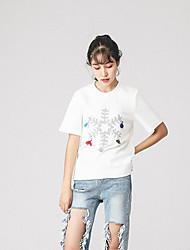 Damen Mit Mustern Einfach Alltag T-shirt,Rundhalsausschnitt Kurzarm Baumwolle