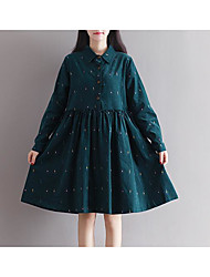 Women's Going out Tunic Dress,Print Shirt Collar Knee-length Long Sleeve Cotton Spring Fall Mid Rise Micro-elastic Medium