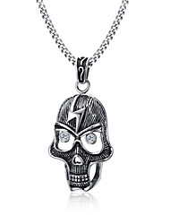 Men's Pendant Necklaces Statement Necklaces Stainless Steel Titanium Steel Euramerican Fashion Punk Hip-pop Casual Unqiue Skull Jewelry