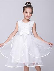 Vestido feminino princesa de joelho com flor - Vestido de cetim sem mangas com cetim