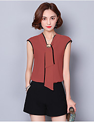 Women's Casual Simple Blouse,Solid V Neck Sleeveless Polyester