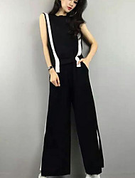 Mujer Sencillo Casual/Diario Verano T-Shirt Pantalón Trajes,Escote Redondo Escocés Sin Mangas