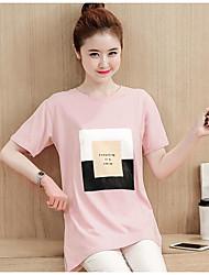 Damen Buchstabe Einfach Normal T-shirt,Rundhalsausschnitt Sommer Kurzarm Baumwolle Mittel