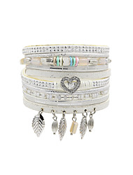 Fashion Women Five  Rows Metal Leaf  Rhinestone Heart Tassel Magnet Leather Bracelet