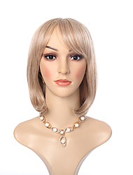 Blonde Wig with Full Bang Natural Straight Heat Resistant Synthetic Wig for American and European Ladies