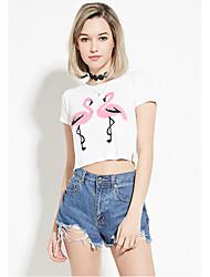 Amazon ebay aliexpress europa explosão modelos cultivando selvagem flamingo t-shirt casual curto parágrafo lo shi