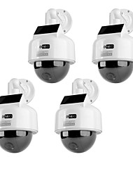 KingNEO KD201S Dummy Solar Powered Speed Dome Camera Simulated Outdoor Security Camera 4pcs White