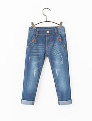 Para Meninos Jeans Cor Única Verão