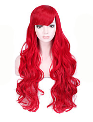 Fashion Red Color Long Wave Women Wigs Heat Resisting Syntheitc Wigs