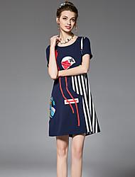 Trapèze Ample Robe Femme Sortie Décontracté / Quotidien Grandes Tailles Vintage Chic de Rue Sophistiqué,Rayé Fleur Couleur PleineCol