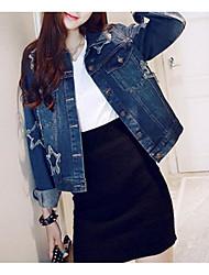 Feminino Jaqueta jeans Misto de Algodão Colarinho de Camisa Manga Longa