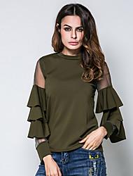 Feminino Camiseta Aniversário Diário Roupas para Lazer Encontro Para Noite Casual Simples Moda de Rua Primavera Verão,Sólido Algodão