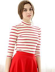 Damen Gestreift Einfach Büro/Geschäftlich Normal T-shirt,Rundhalsausschnitt ¾-Arm Baumwolle