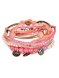 Lureme Bohemian Tube Beads Coin Charms Multi Strand Textured Stackable Bracelet Set
