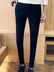 Men's Low Rise Micro-elastic Business Pants,Simple Street chic Slim Solid
