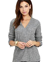 Tee-shirt Femme,Couleur Pleine Décontracté / Quotidien simple Automne Manches Longues Col en V Rayonne Moyen