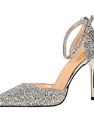 Для женщин Обувь на каблуках Удобная обувь Блестки Весна Осень Для праздника Удобная обувь Пряжки На шпилькеСеребряный Цвет радуги