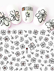 1pcs Fashion Black Flower Decoration Beautiful Flower Design Nail Art 3D Stickers For Nail DIY Beauty F080