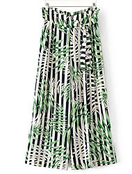 Feminino Simples Cintura Alta Inelástico Perna larga Calças,Largo Estampado