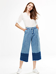 Women's Color Block Blue Jeans Pants,Simple