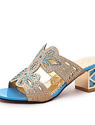 Women's Sandals PU Summer Walking Sparkling Glitter Chunky Heel Black Blue Royal Blue Under 1in