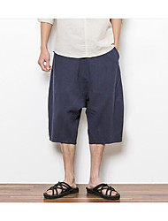 Men's High Rise strenchy Loose Pants,Simple Loose Solid