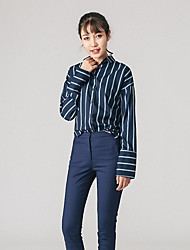 Women's Casual/Daily Simple Shirt,Striped Stand Long Sleeve Polyester