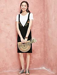 Dámské Běžné/Denní Volné Šaty Jednobarevné,Bez rukávů Ramínka Nad kolena Polyester Léto Mid Rise Lehce elastické Tenké