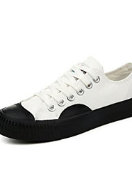 Girls' Sneakers Spring Fall Comfort Canvas Outdoor Casual Walking Low Heel Magic Tape Screen Color Black White