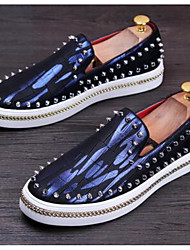 Men's Shoes Cowhide Spring Loafers & Slip-Ons For Silver Red Blue