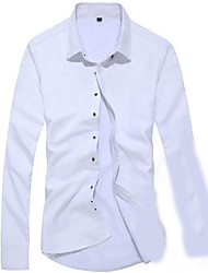 Men's Going out Street chic Shirt,Solid Round Neck Long Sleeve Silk