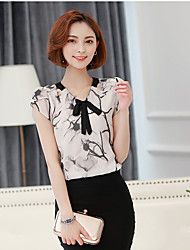 Women's Street Simple Summer Blouse,Solid Pattern V Neck Short Sleeve Rayon Thin