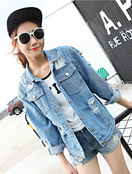 Women's Casual/Daily Vintage Street chic Fall Denim Jacket,Solid Square Neck Long Sleeve Regular Cotton