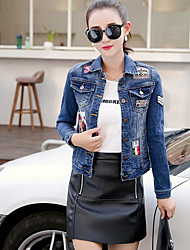 Women's Casual/Daily Simple Spring Summer Denim Jacket,Solid Shirt Collar Long Sleeve Short Linen