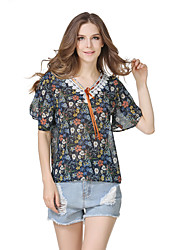 Women's Going out Casual/Daily Holiday Sexy Vintage Summer Shirt,Floral Boat Neck ½ Length Sleeve Polyester
