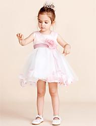 Vestido feminino princesa joelho com flor feminina - Tulle sem mangas colar jóia com flor por minuto