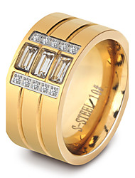 Women's Ring Classic Elegant Cubic Zirconia Titanium Steel Ring Jewelry For Wedding Anniversary Party/Evening
