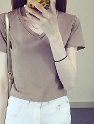 Damen Solide Einfach Alltag T-shirt,V-Ausschnitt Sommer Kurzarm Baumwolle