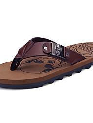Men's Slippers & Flip-Flops PU Spring Summer Low Heel Black Dark Brown Under 1in