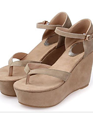 Women's Sandals Comfort Leather Suede Spring Casual Nude Black Flat